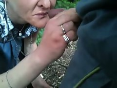 Cum on face to blond attractive mature nympho in the public park