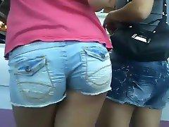 Spying on girl in denim shorts
