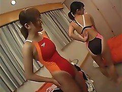 oriental women in swimsuits suntan version