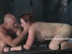 Busty prostitute bound in leather tight gets spanked and ass fuck