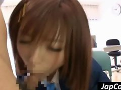 Asian coed sucking cock in class