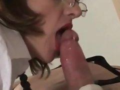 Dominatrix sucking off her slaves cock