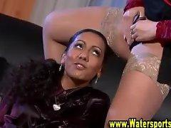 Glamorous fetish threesome gets wet