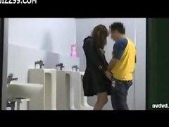 surprise blowjob in lavatory