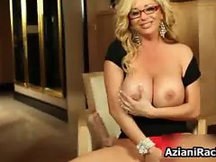Blonde milf with huge tits loves playing part6