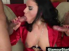 Nasty threesome slut gets dp
