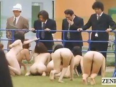 Strange Japanese BDSM slaves outdoor group blowjobs