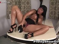 Busty slut working on a huge dildo part2