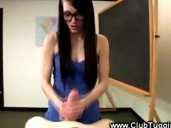 Teacher jerking cock in class POV
