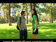 Skinny perky-tit brunette India Summer fucks stranger at the park