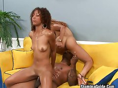 Two hot ebony babes shared one cock ,Melrose Foxxx;Misty Stone