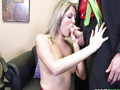Sexy schoolgirl Nina Lane fucks needy Santa