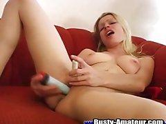 Busty Candace pleasuring herself