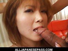Cute and sassy Rika Sakurai gives a blowjob