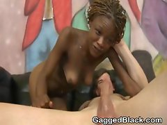 Black Slut Face Fucked By White Guy On A Sofa