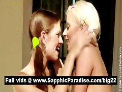 Sensual brunette and blonde lesbians fingering and licking pussy and having lesbian sex