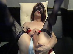 Hardcore masked tranny senora with a delightful man's package jerks off