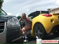 Blond buddy gets rectum fucked in car part5