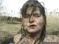 Horny old mom covered with mud riding part5