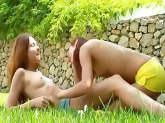 Girly love and pussy eat in the grass