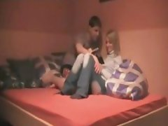 French Blonde Girl With Great Ass Rides Her BF On The Bed