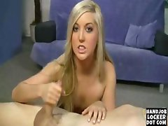 Bute blonde girl loves to give handjobs
