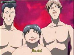 Hentai brunette gets gangbanged