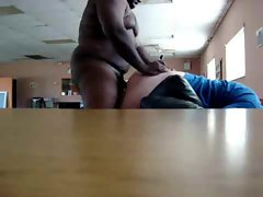 Black bull fucks white guy bent over chair