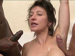 Double anal for French MILF Zaza