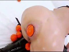 Hot girl stuffs everything in her ass