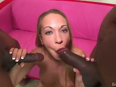 Big tits blonde slut jamie elle greedy for monster black cocks