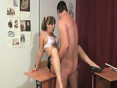 Cute little brunette gets nailed by her teacher