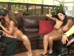 Two hot lesbian babes lick and tease two hot guys