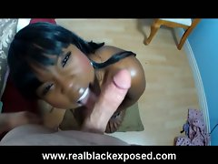 Ebony girlfriend ladycoffe in luscious bedtime blow-job session