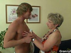 Hot guy shags lonely granny