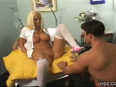 Slutty blonde nurse slams some nice hot cock