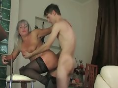 Milf slut seduces young boy