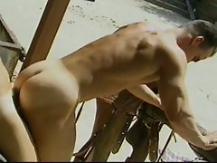 Gay cowboy studs get naughty outside