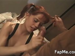 Hot chick gives a handjob and footjob