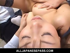 Japanese cougar jun kusanagi sucking cock at work