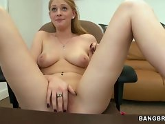 Young blonde hottie shows off pink pussy lips to boss