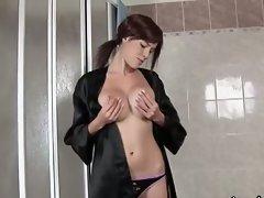 Big boobies slender brunette hottie strips and piss hard in shower