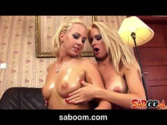 Oiled up babes carla cox and stacy silver play with titties