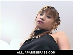 Horny japanese model toying pussy