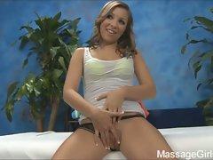 Cute brunette sasha rubs pussy on massage table