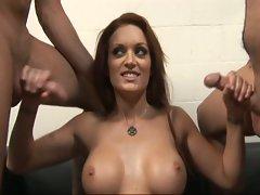 Big tits slut doing double tug job