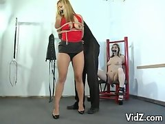 Master ties up blonde and brunette sluts and teases them