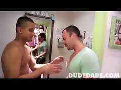Gay tries on underwear while guy watches