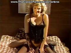 Blonde babe in lingerie blows and fucks black cock in vintage porn