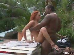 Fiery redhead slut donna marie taking monster black boner
